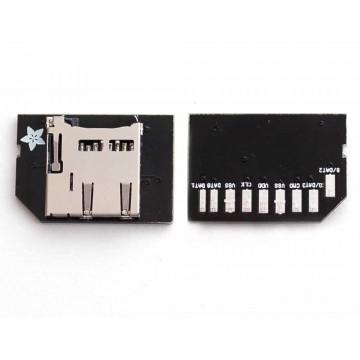Low-profile microSD card adapter