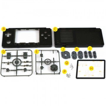 Aura Black/Clear White Cases buttons kit for ODROID-GO Advance Black Edition